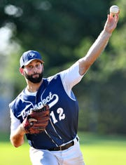 East Prospect's Seth Lefever pitches against Hallam during Susquehanna League championship playoff action in Jacobus Borough, Thursday, Aug. 23, 2018. Dawn J. Sagert