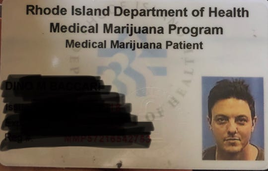 In this photo, Dino Baccari's medical marijuana patient identification card from Rhode Island is shown. Baccari, 40, of Providence, Rhode Island, was arrested in York County on charges including possession of a small amount of marijuana. There's no reciprocity between the states.