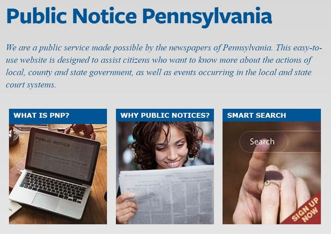 Database of public notices in Pa.