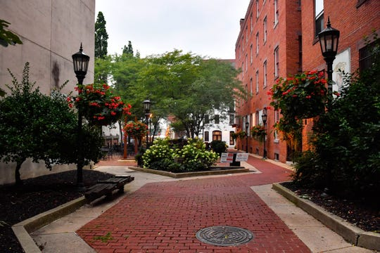 Downtown York's Cherry Lane is vibrant with color, making for an interesting stroll.