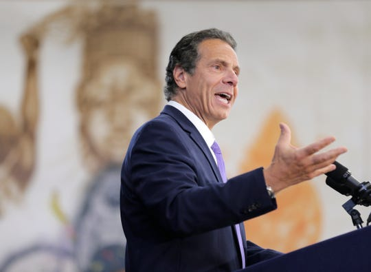 New York Governor Andrew Cuomo speaks at an event in the Brownsville section of Brooklyn in New York, Thursday, July 5, 2018, as he seeks a third term for governor.