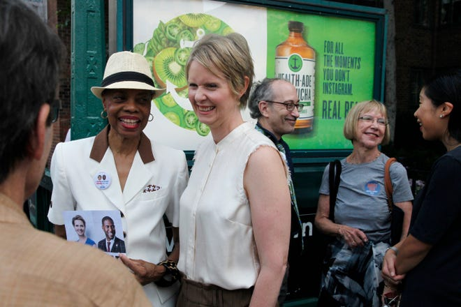 Democratic New York gubernatorial candidate Cynthia Nixon campaigns, Thursday, Aug. 16, 2018, in New York. Nixon faces incumbent Gov. Andrew Cuomo in the September primary.