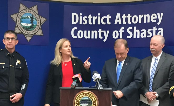 Shasta County District Attorney Stephanie Bridgett speaks at Carr Fire fraud press conference on Aug. 23, 2018.