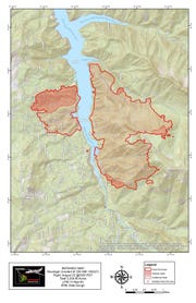 A map showing the size of the Terwilliger Fire around Cougar Reservoir.