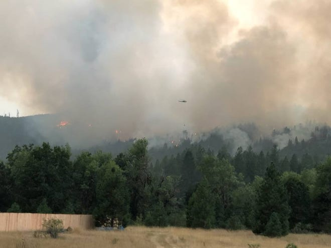 The Ramsey Canyon Fire burns north of Medford.