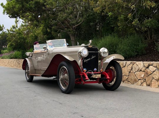 Each Thursday preceding the Pebble Beach Concours d'Elegance a select few of the show participants take part in the Tour d'Elegance- a scenic romp around the Monterey Peninsula that allows the public at large to see some of the finest cars in the world being driven on public roads. A 1922 Hispano-Suiza H6B Labourdette Skiff Torpedo cruises along the roads of Pebble Beach during the morning hours of the Tour d'Elegance held Thursday.