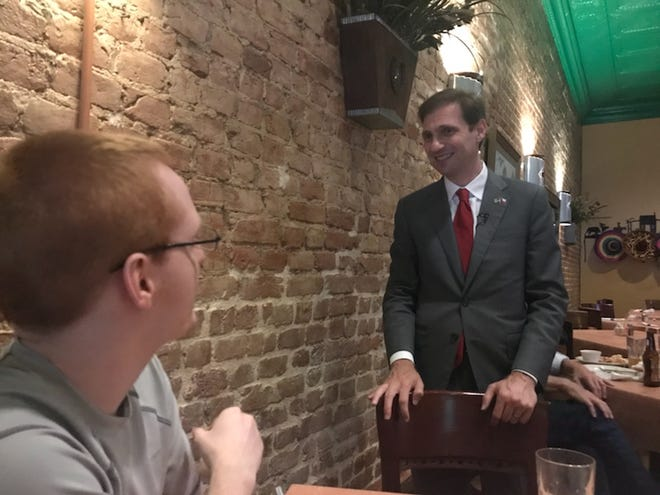 Democratic candidate for the Texas Attorney General Justin Nelson answered questions after his speech on Wednesday, Aug. 22.
