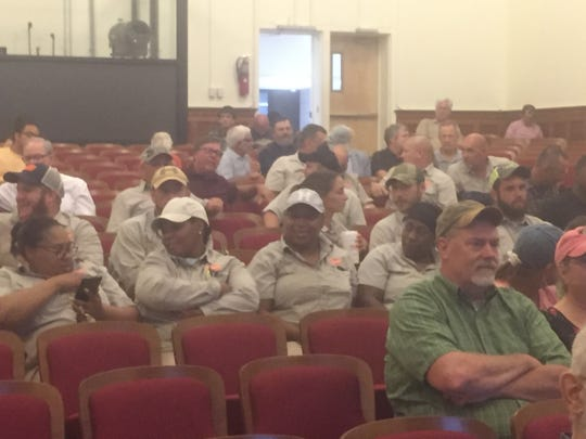 Tyson poultry growers and workers were among attendees at an informational meeting on groundwater withdrawal permits the Department of Environmental Quality held at Arcadia High School in Oak Hall, Virginia on Wednesday, Aug. 22,, 2018.
