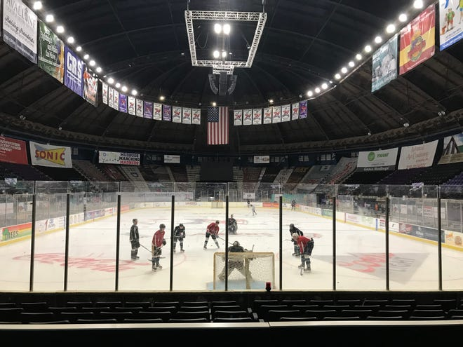Prospective Mudbugs participate in an optional skate Thursday on George's Pond at Hirsch Coliseum. Training camp kicks off Friday for the defending NAHL champions.