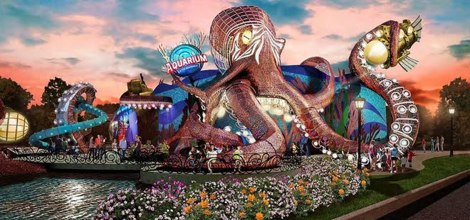 """This rendering shows what """"Aquarium at the Boardwalk,"""" a possible new Branson attraction, could look like."""
