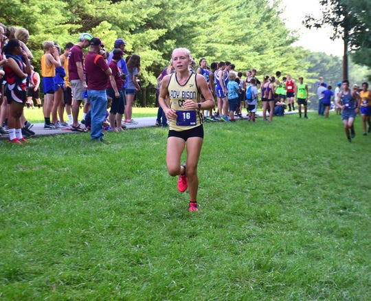 Buffalo Gap's Annika Fisher runs on the opening leg of the boys relay at the Valley Cup cross country invitational on Wednesday, Aug. 22, 2018, at Wilson Workforce & Rehabilitation Center in Fishersville. Va.