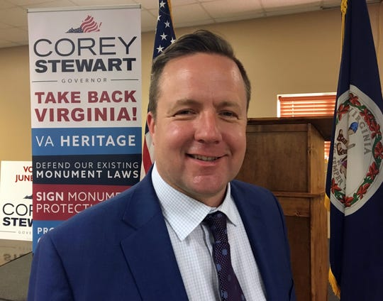 Virginia candidate for governor Corey Stewart, a Republican from Woodbridge, poses for a photo at the Verona Fire Department on Friday, June 2, 2017.