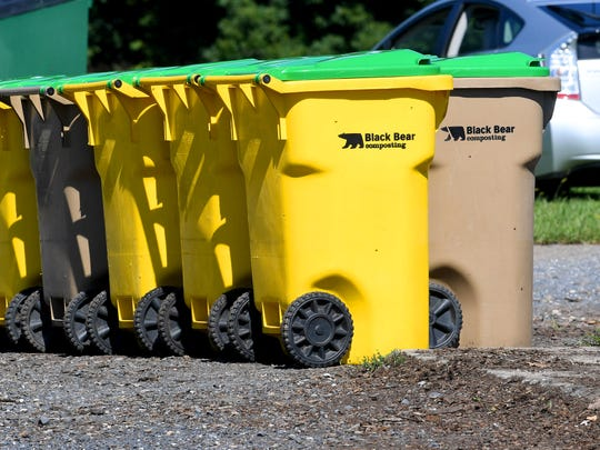 Collection bins for use by customers are kept ready for distribution at Black Bear Composting in Crimora on Thursday, August 23, 2018.