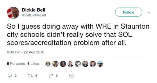 Tweet from Del. Dickie Bell
