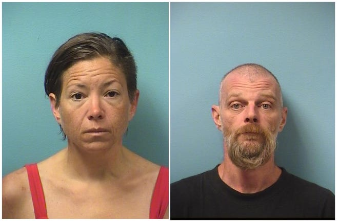 Lynette Ann Robertson and Jason Timothy Ferderer each booked on a felony aiding and abetting terroristic threats charge.