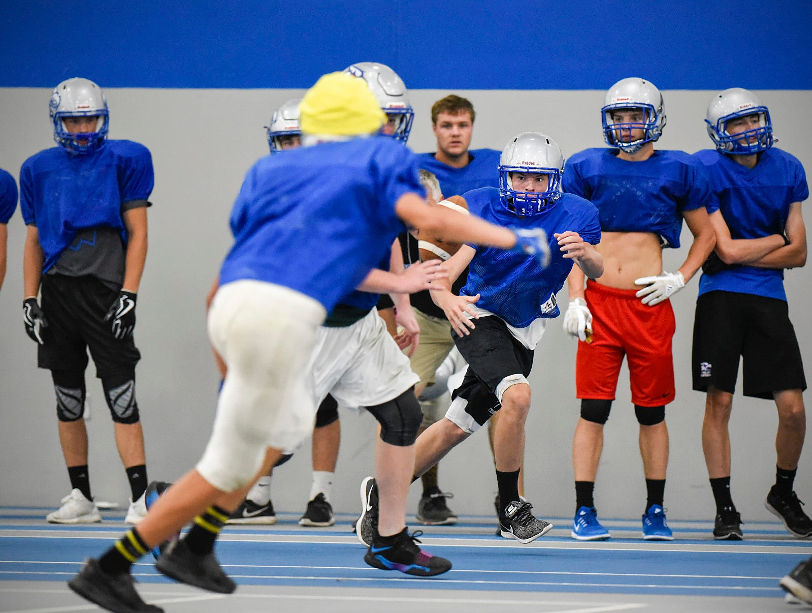 Foley runs their offense during practice  Monday, Aug. 20, at the Foley High School.