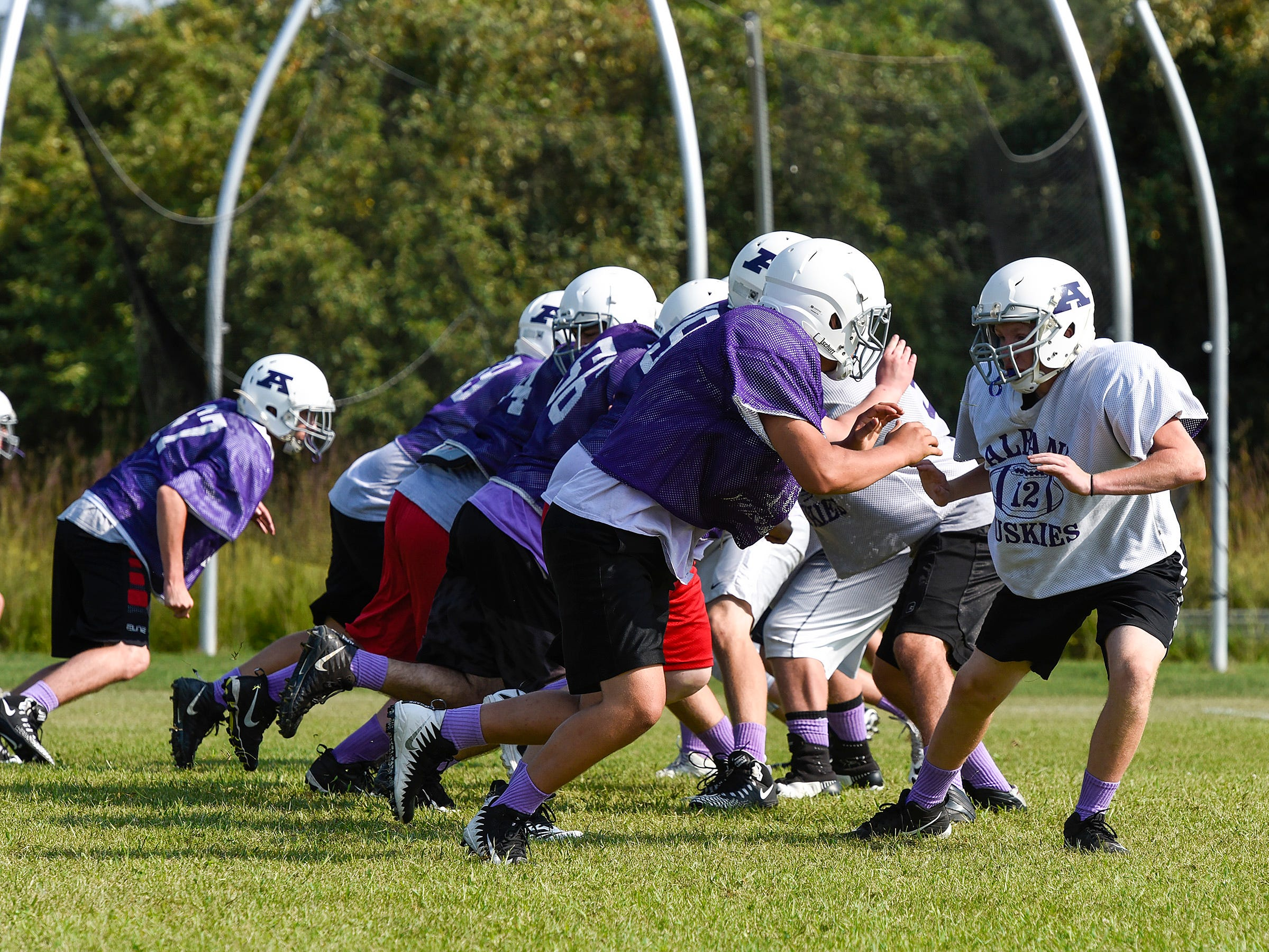 Albany runs their offense during practice Wednesday, Aug. 15, at the Albany High School.
