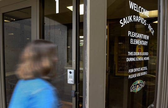 Visitors to Pleasantview Elementary school now have to enter through a secure door with with a camera, shown Tuesday, Aug. 21, in Sauk Rapids.