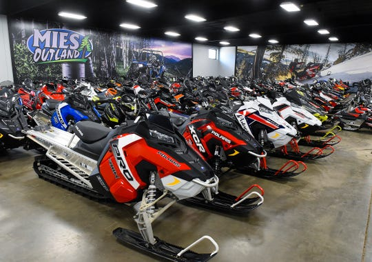 The snowmobile showroom at Mies Outland is shown Wednesday, Aug. 22, at 3653-32nd St. SE, St. Cloud.