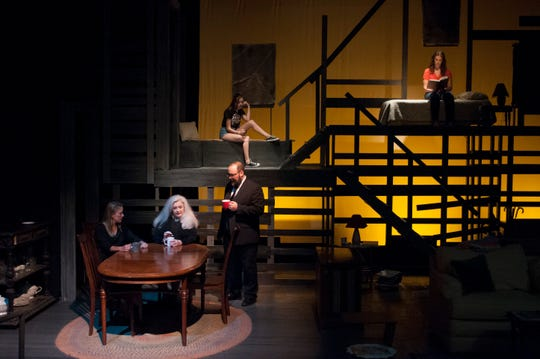 Barbara (Erika Stone), Violet (Nancy Diskin), and Bill (M. Derek Nieves) discuss the disappearance of Violet's husband, while upstairs their daughter, Jean (Aliya Kraar, left), and housekeeper, Johnna (Andie Gilroy, right), find different escapes.