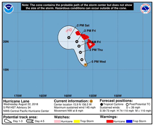 Projected path of Hurricane Lane as of 11 p.m. Wednesday, Aug. 22, 2018.