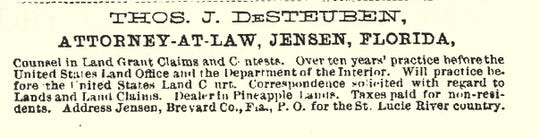 Advertisement for DeSteuben legal service