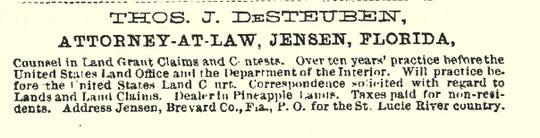 Advertisement for DeSteuben legal service