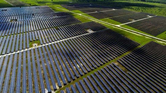 The Florida Power & Light Indian River Solar Energy Center in Vero Beach is seen from above Tuesday, Aug. 21, 2018. The energy center contains more than 330,000 solar panels covering about 695 acres west of Interstate 95.