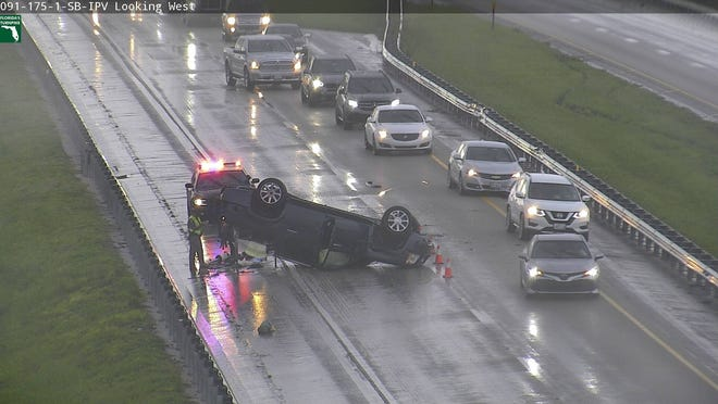 A car overturned on Florida's Turnpike in Indian River County Thursday afternoon.