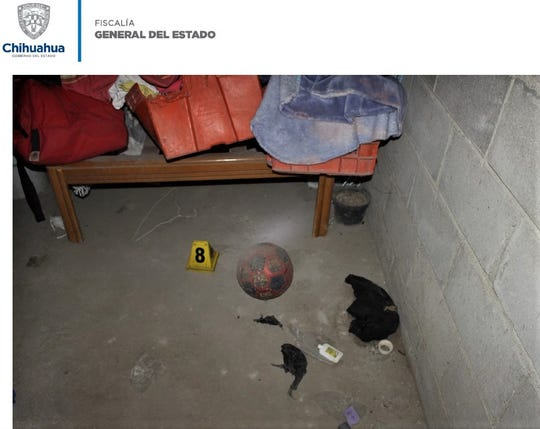"""A crime scene photo shows a ball that 6-year-old Daniel Rafael """"Rafita"""" Santillan allegedly played with before he was killed."""