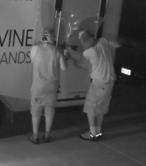 Do you know these men? They are wanted by sheriff's deputies after stealing $2,000 from a landscaping trailer.