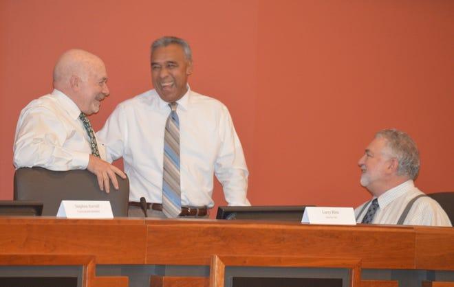 TRMC interim CEO Larry Blitz, left, Mike Jamaica, board member, and Dan Heckathorne, TRCM Interim CFO speak prior to Wednesday's board meeting.