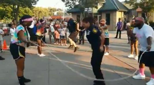 Yonkers police jump rope