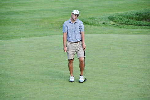 Jack Wall reacts after his 50-foot eagle putt on the 18th hole came up short. He made the birdie try and finished one shot off the lead.