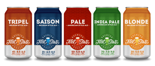 An early mock-up of cans from First State Brewing Company, although owners believe the look will be different by the time they begin canning. The Middletown brewery is expected to open sometime during the the first few months of next year.