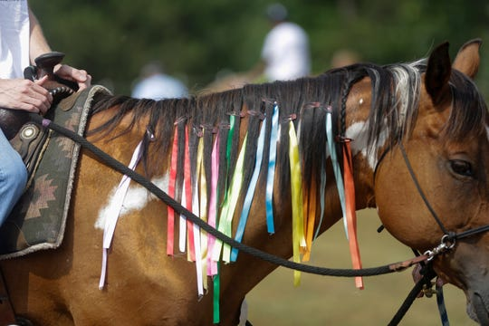 Each horse that participated in the ride-a-thon event at Jeremiah's Crossing had a ribbon places in their manes for each rider they carried Sunday, August 19, 2018 in Babcock, Wis.