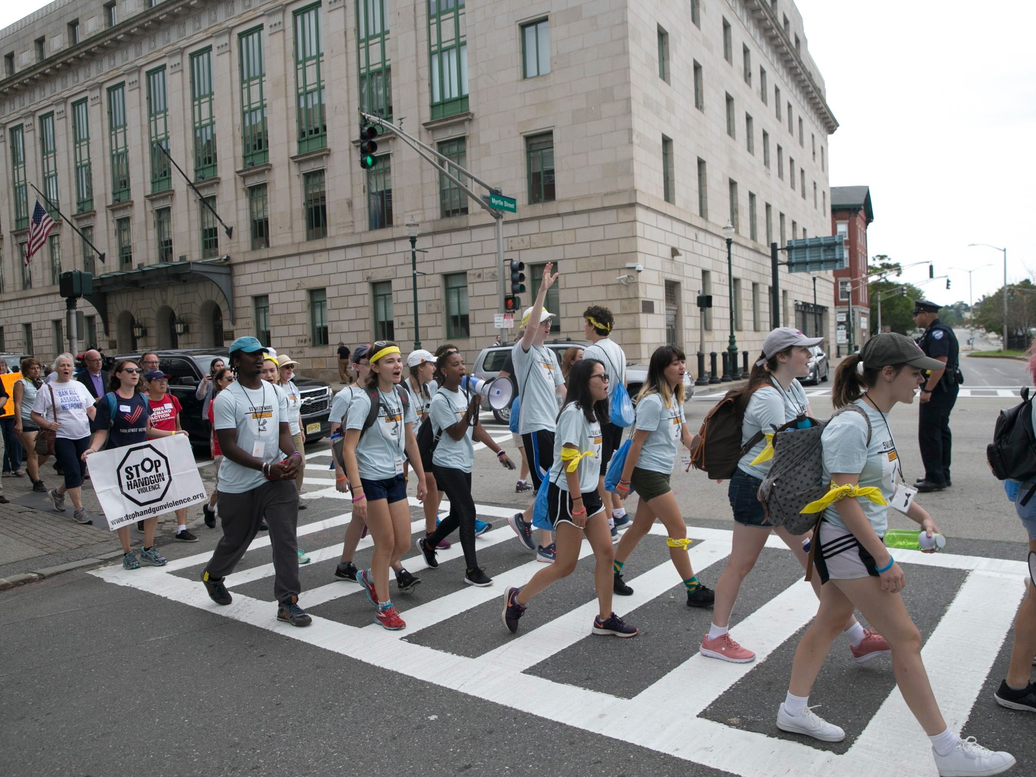 Youth activists march to protest gun violence, in Worcester, Mass. on Aug. 2018.