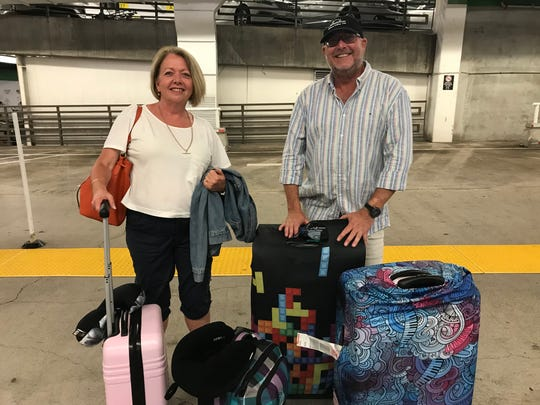 """Leanne and Jeff Day of Sydney, Australia preparing for their visit to Honolulu, Hawaii as Hurricane Lane bears down on the state. The couple shrugged off the possible disaster, saying """"You can't control nature."""""""