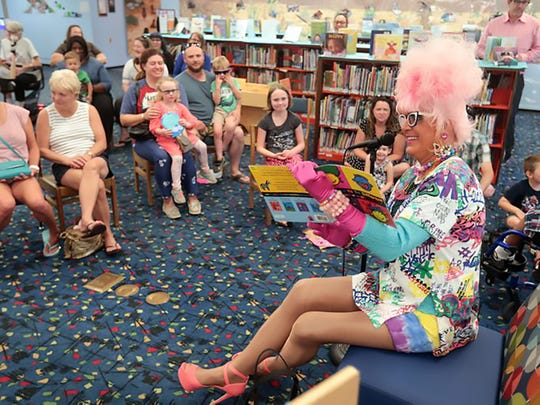 Palm Springs, California: Bella da Ball reads to children and parents June 6, 2018, at the Palm Springs Library's second Drag Queen Story Hour.