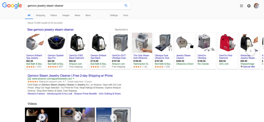 A search for the GemOro jewelry steam cleaner on Google showed an $85 offering on Amazon as one of the first results.