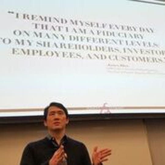 James Rhee, CEO of Ashley Stewart speaks at Temple University as part of the retailer's college tour, which features empowerment workshops, scholarships and fashion shows.