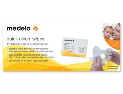 Medela quick clean wipes let you clean your pump parts when you don't have water on hand.