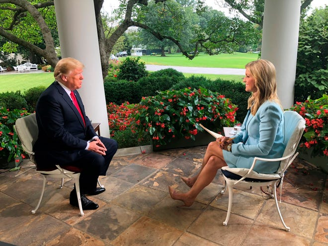 "Ainsley Earhardt interviews President Donald Trump on ""Fox & friends"" on  Aug. 22, 2018."