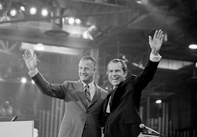 President Richard Nixon and Vice President Spiro Agnew wave to delegates at the final session of the Republican National Convention in Miami on Aug. 24, 1972. Within two years, both were forced to resign.