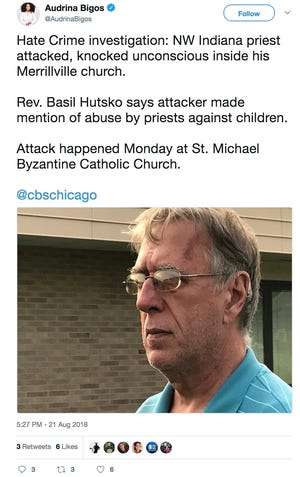 """An Indiana Catholic priest was attacked in church by man who claimed the assault was for the """"little kids."""""""