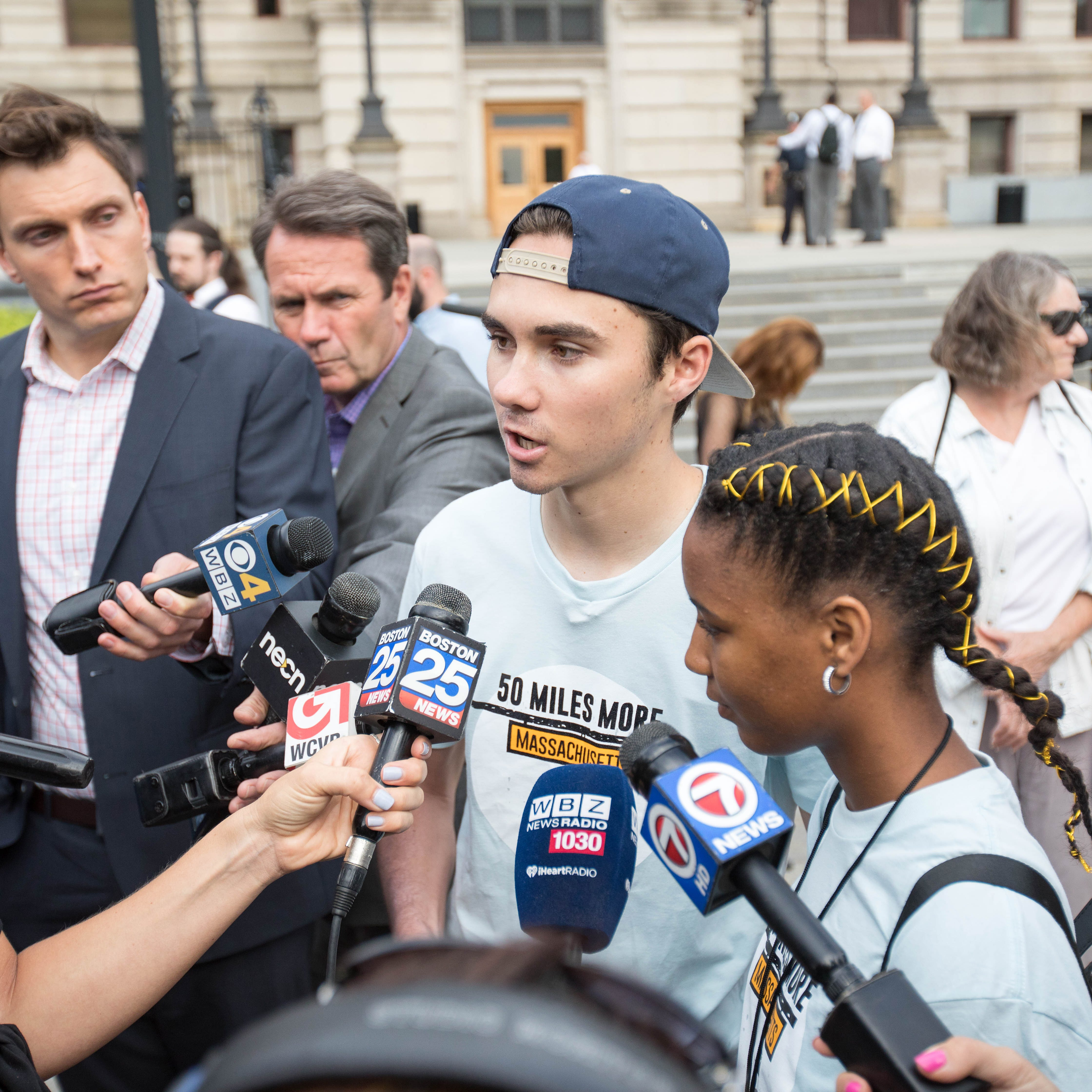 David Hogg, Parkland shooting survivor and activist givess an interview before the kick off of the 50 Miles More walk against gun violence which will end with a protest at the Smith and Wesson Firearms factory on Aug. 23, 2018 in Worcester, Mass.