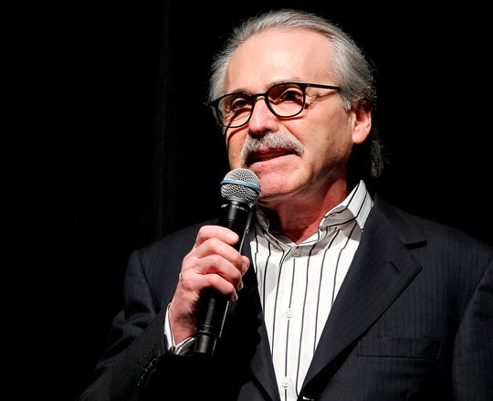 David Pecker, Chairman and CEO of American Media, addresses those attending the Shape & Men's Fitness Super Bowl Party in New York on Jan. 31, 2014. The Aug. 21, 2018 plea deal reached by Donald Trump's former attorney Michael Cohen has laid bare a relationship between the president and Pecker, whose company publishes the National Enquirer. Besides detailing the tabloid's involvement in payoffs to porn star Stormy Daniels and Playboy Playmate Karen McDougal to keep quiet about alleged affairs with Trump, court papers showed how David Pecker, a longtime friend of the president, offered to help Trump stave off negative stories during the 2016 campaign.