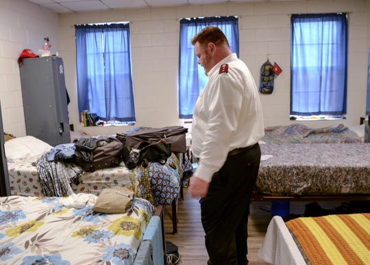 Capt. Robert Dolby looks at a room where homeless people are stay at night in the Salvation Army shelter on Tolly Street in Anderson.