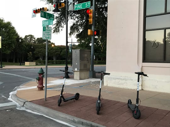 On Friday, August 24, 2018, bird scooters were parked in downtown Abilene.