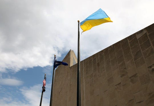Ukranian Indepence Day was marked with a flag raising at Binghamton City Hall Thursday.